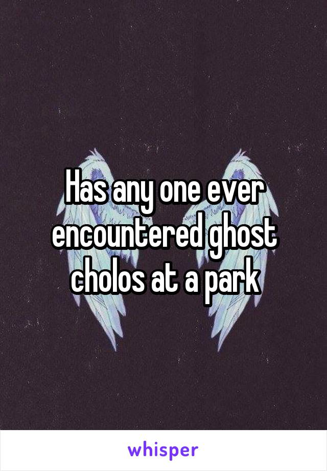 Has any one ever encountered ghost cholos at a park
