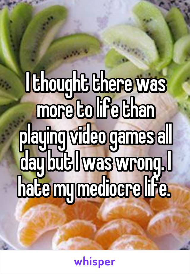 I thought there was more to life than playing video games all day but I was wrong. I hate my mediocre life.