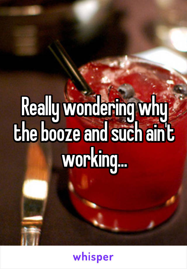 Really wondering why the booze and such ain't working...