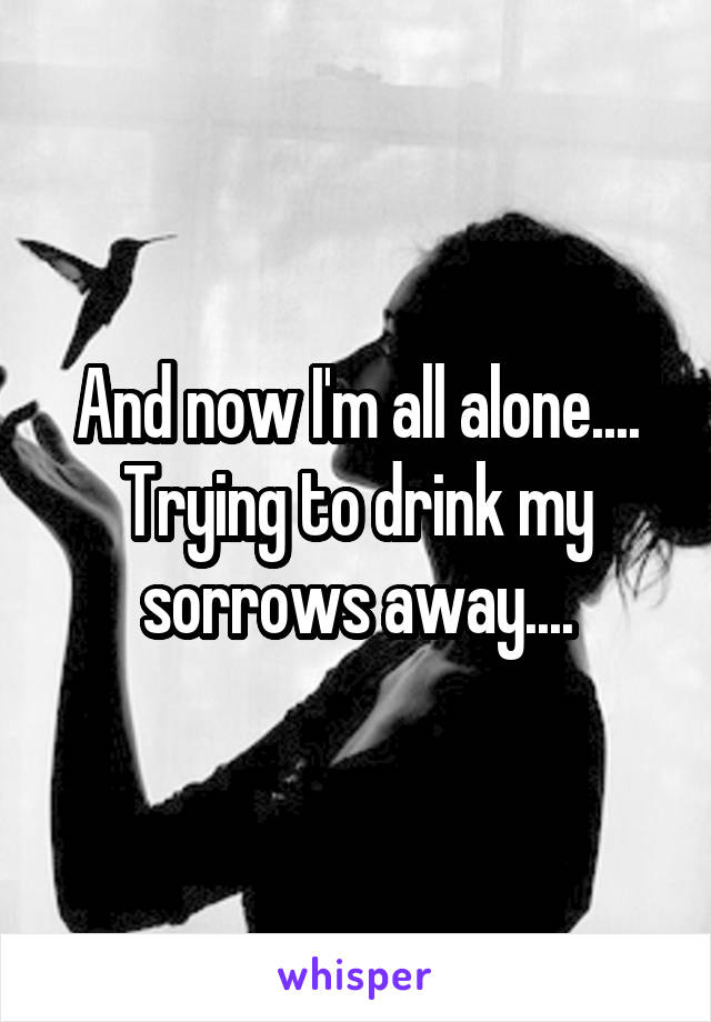 And now I'm all alone.... Trying to drink my sorrows away....