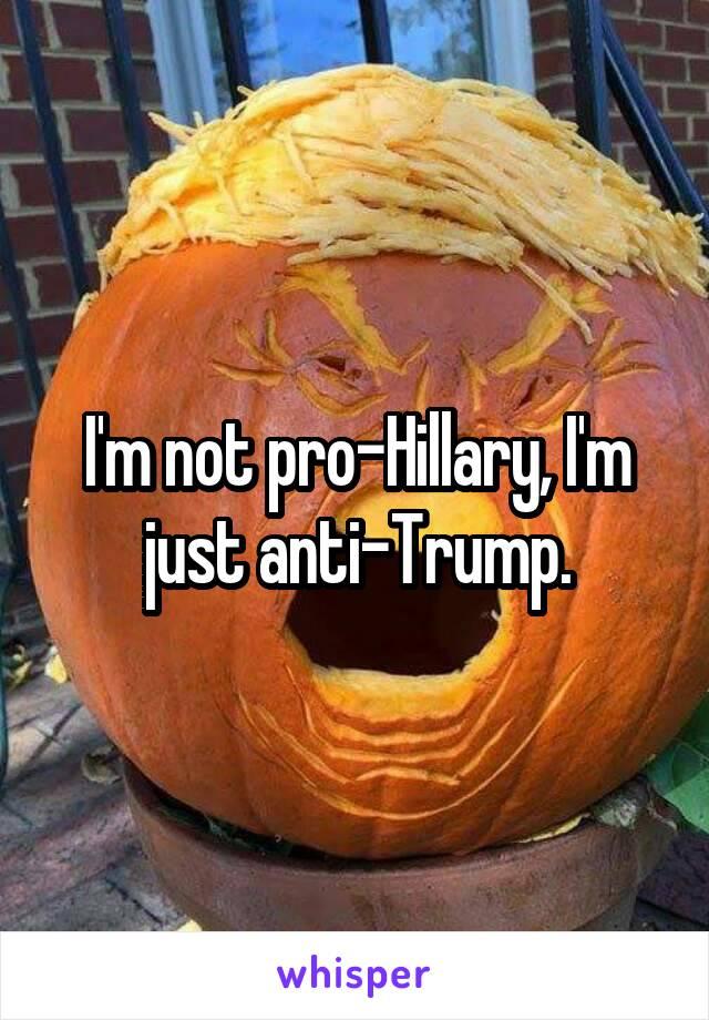 I'm not pro-Hillary, I'm just anti-Trump.