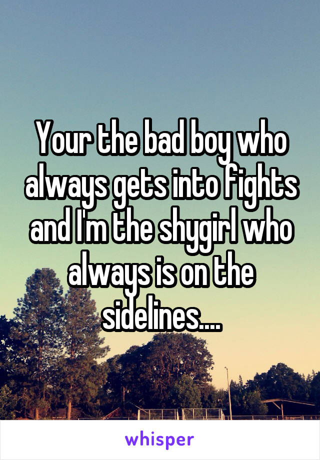 Your the bad boy who always gets into fights and I'm the shygirl who always is on the sidelines....