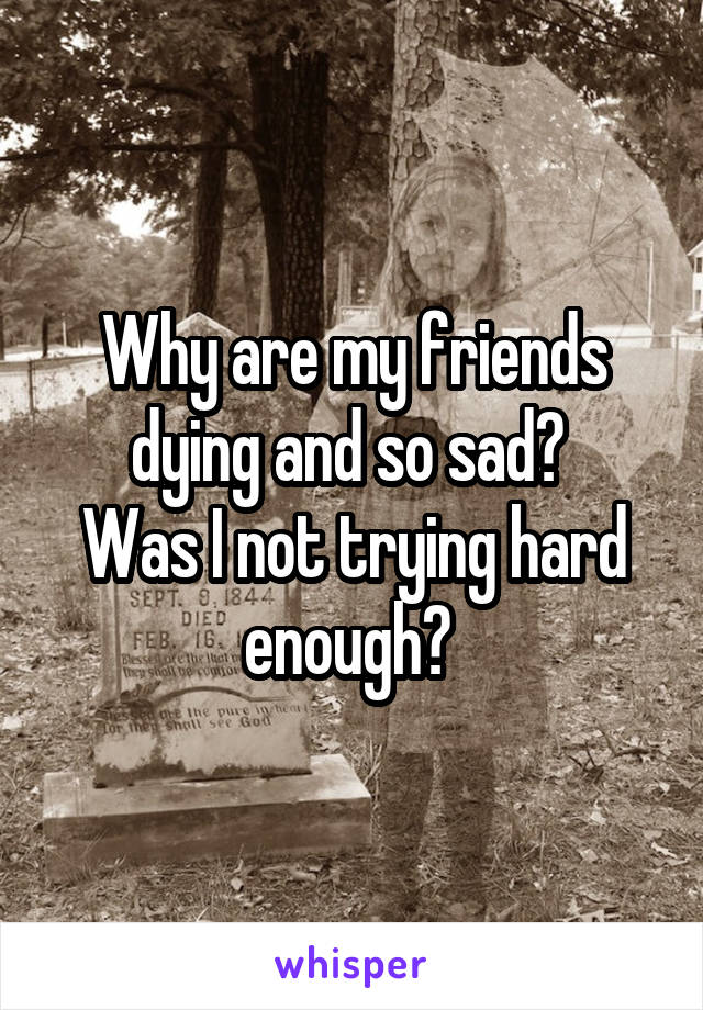 Why are my friends dying and so sad?  Was I not trying hard enough?