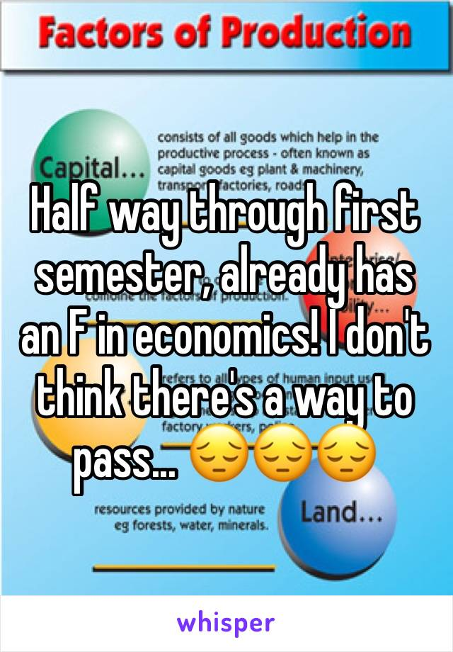 Half way through first semester, already has an F in economics! I don't think there's a way to pass... 😔😔😔