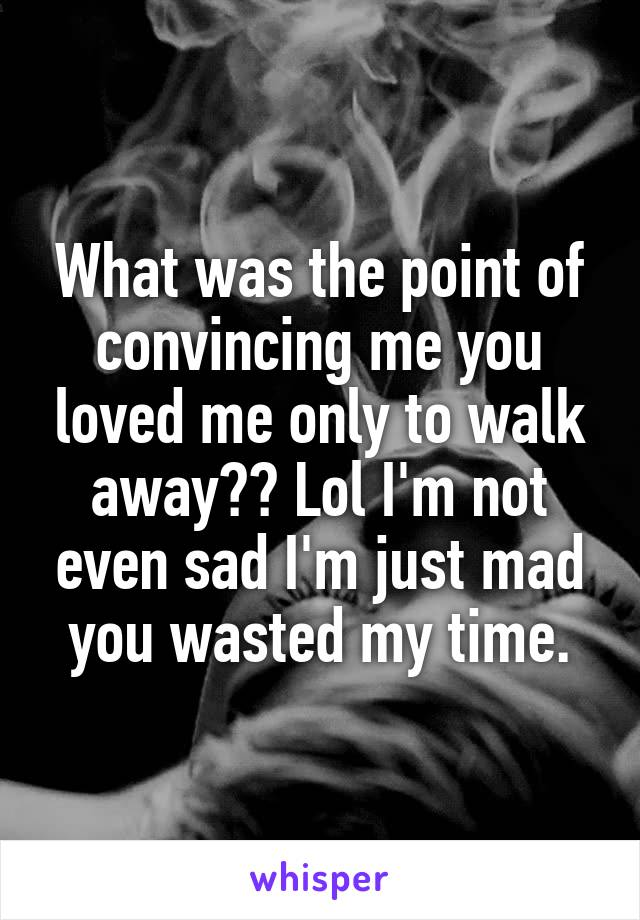 What was the point of convincing me you loved me only to walk away?? Lol I'm not even sad I'm just mad you wasted my time.