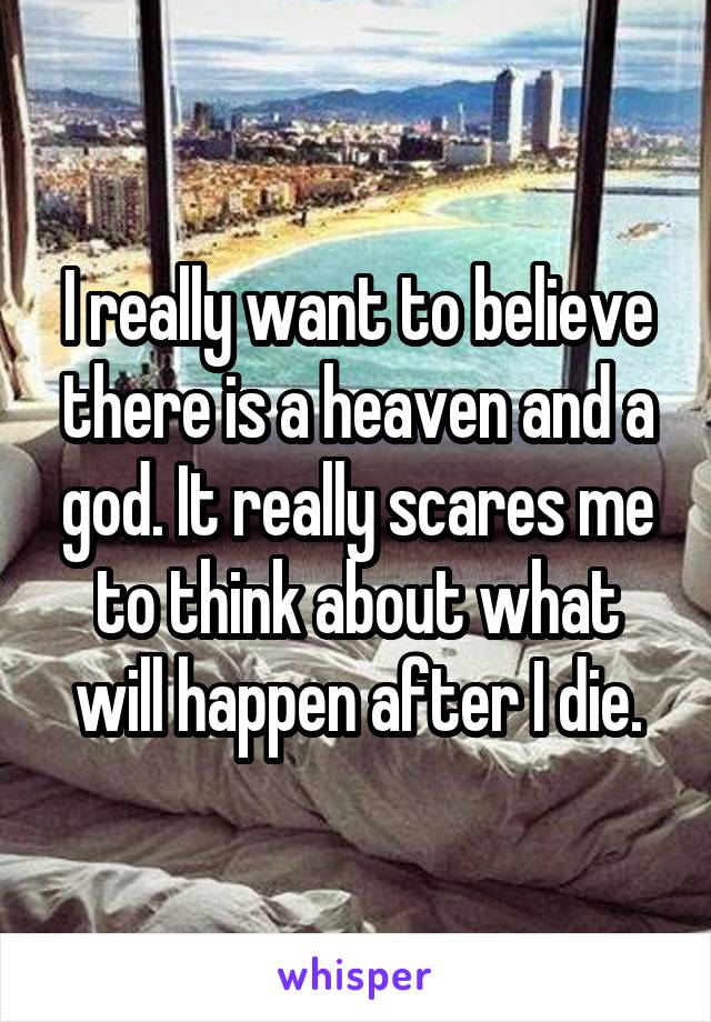 I really want to believe there is a heaven and a god. It really scares me to think about what will happen after I die.