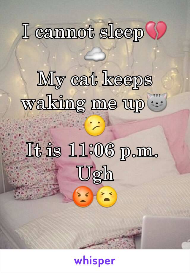 I cannot sleep💔☁ My cat keeps waking me up🐱😕 It is 11:06 p.m.  Ugh 😡😣