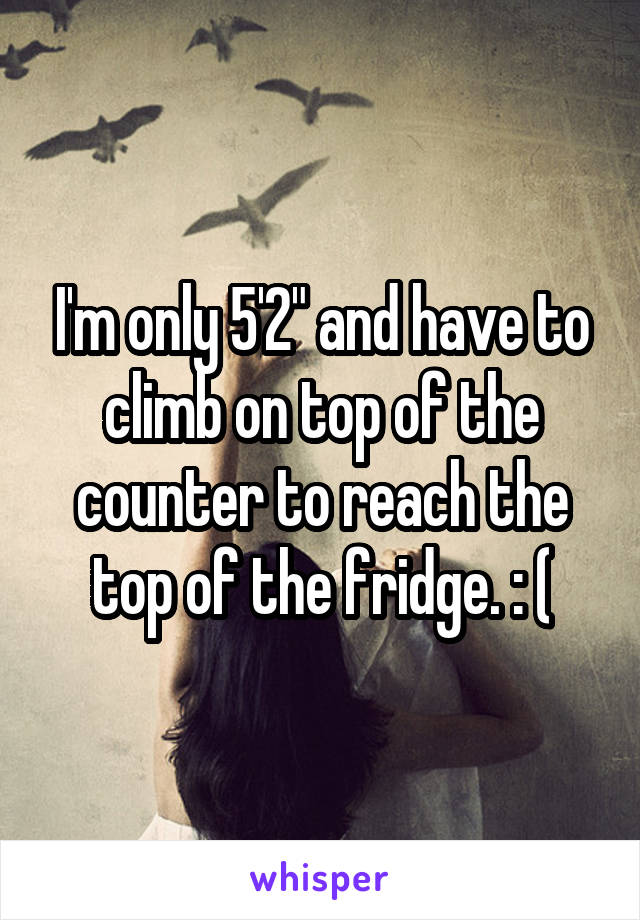 "I'm only 5'2"" and have to climb on top of the counter to reach the top of the fridge. : ("
