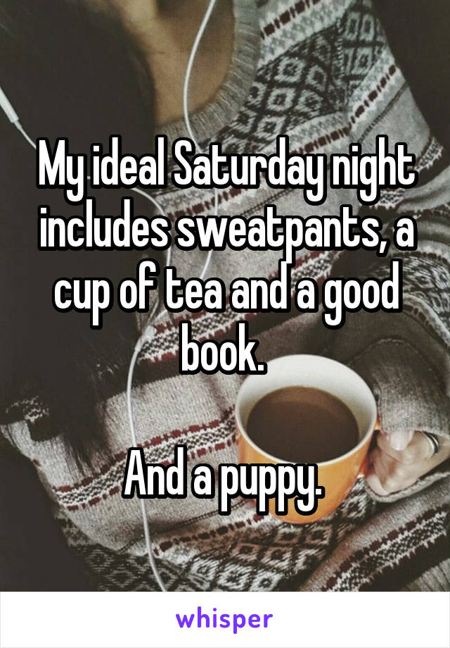 My ideal Saturday night includes sweatpants, a cup of tea and a good book.   And a puppy.