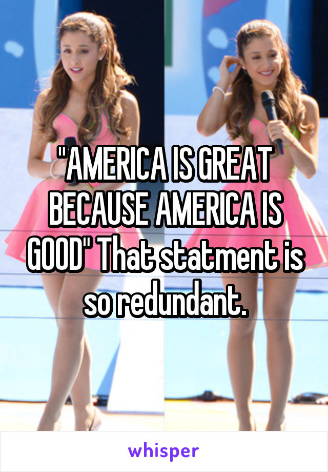 """""""AMERICA IS GREAT BECAUSE AMERICA IS GOOD"""" That statment is so redundant."""