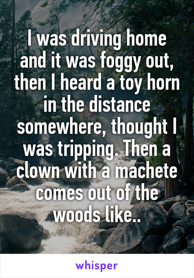 I was driving home and it was foggy out, then I heard a toy horn in the distance somewhere, thought I was tripping. Then a clown with a machete comes out of the woods like..