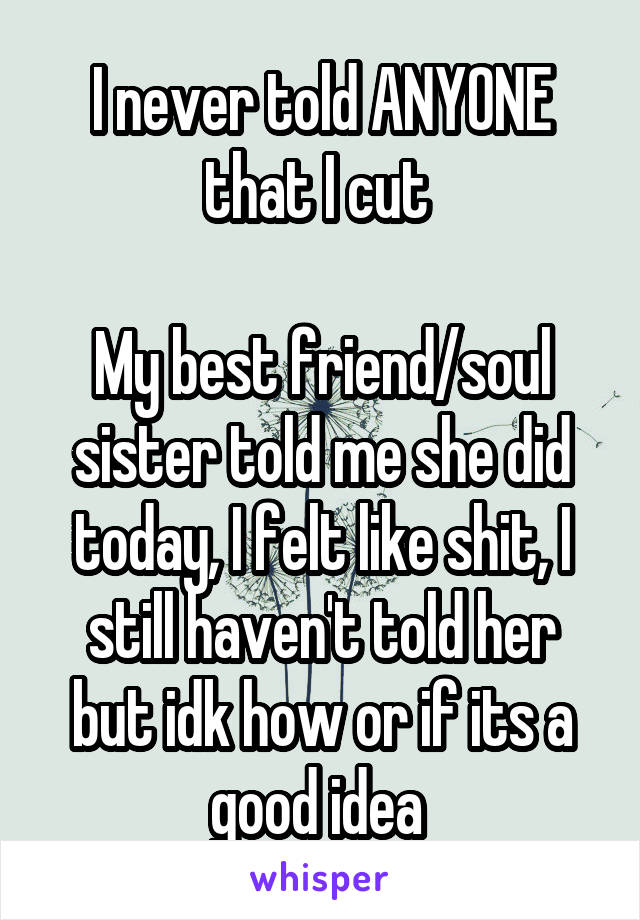 I never told ANYONE that I cut   My best friend/soul sister told me she did today, I felt like shit, I still haven't told her but idk how or if its a good idea