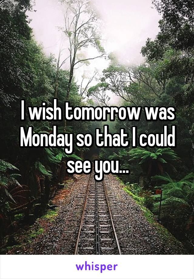 I wish tomorrow was Monday so that I could see you...
