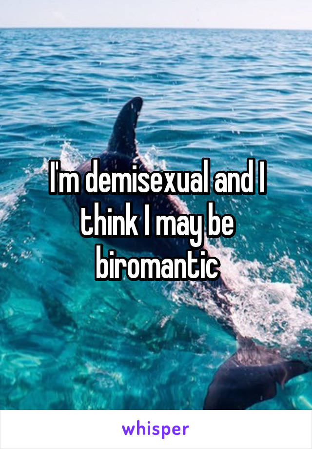 I'm demisexual and I think I may be biromantic