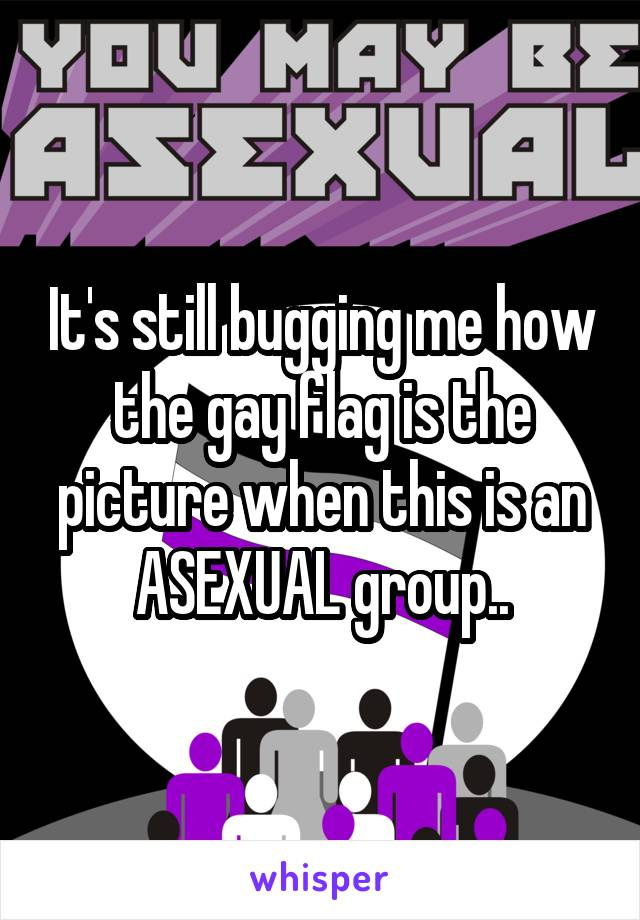 It's still bugging me how the gay flag is the picture when this is an ASEXUAL group..