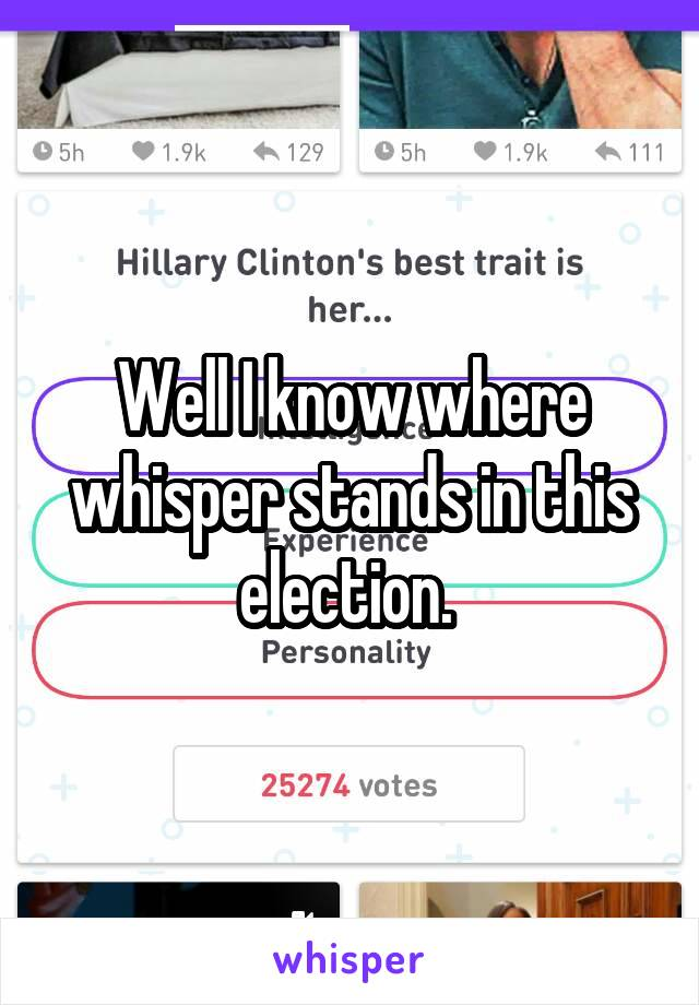 Well I know where whisper stands in this election.