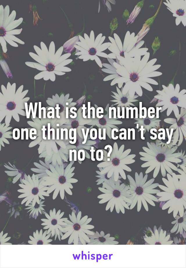 What is the number one thing you can't say no to?