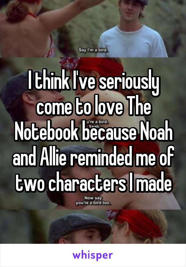 I think I've seriously come to love The Notebook because Noah and Allie reminded me of two characters I made