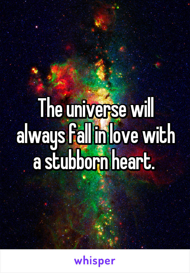 The universe will always fall in love with a stubborn heart.
