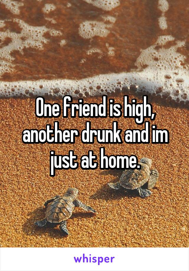 One friend is high, another drunk and im just at home.