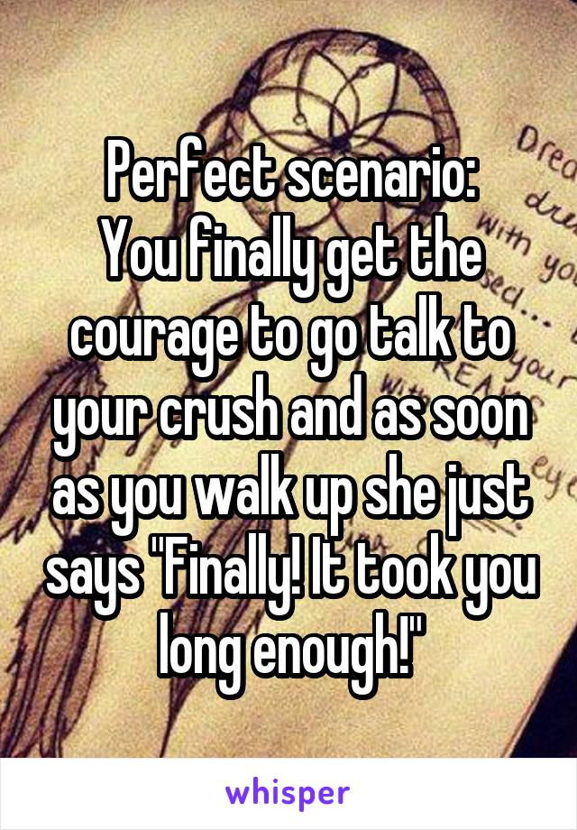 """Perfect scenario: You finally get the courage to go talk to your crush and as soon as you walk up she just says """"Finally! It took you long enough!"""""""