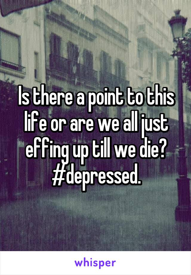 Is there a point to this life or are we all just effing up till we die? #depressed.