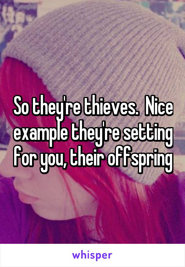 So they're thieves.  Nice example they're setting for you, their offspring