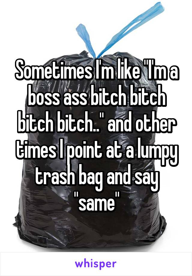 "Sometimes I'm like ""I'm a boss ass bitch bitch bitch bitch.."" and other times I point at a lumpy trash bag and say ""same"""