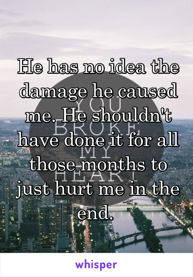 He has no idea the damage he caused me. He shouldn't have done it for all those months to just hurt me in the end.