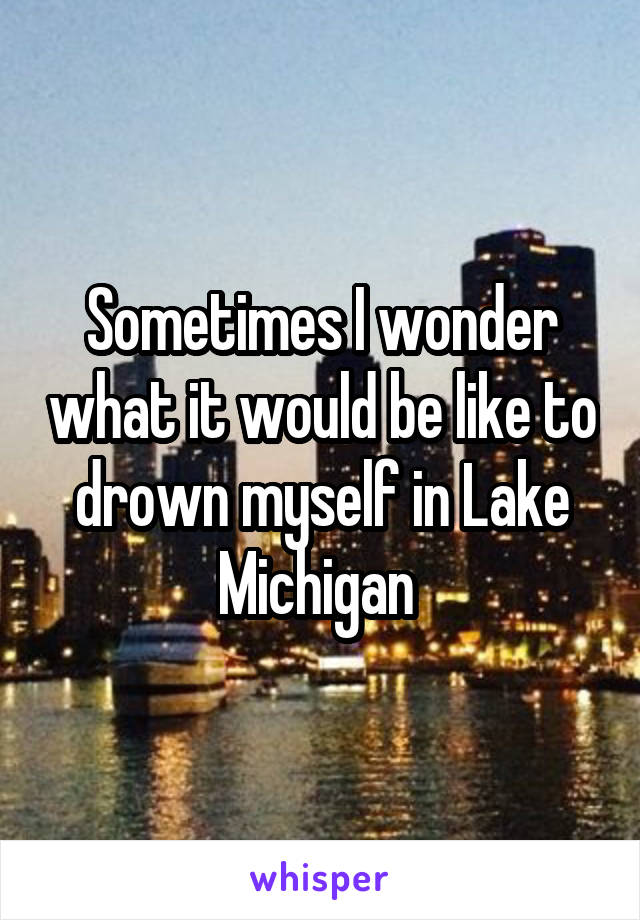 Sometimes I wonder what it would be like to drown myself in Lake Michigan