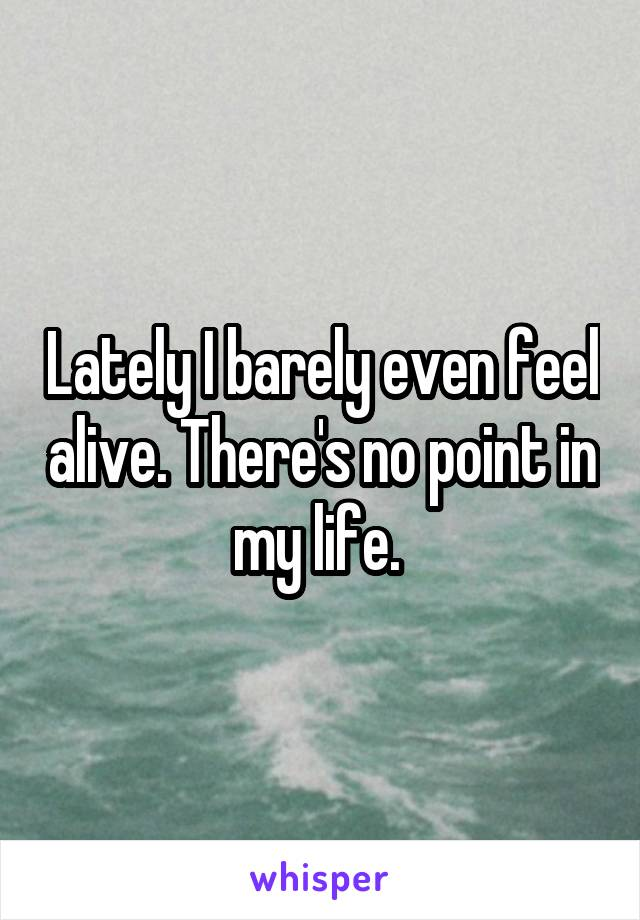 Lately I barely even feel alive. There's no point in my life.