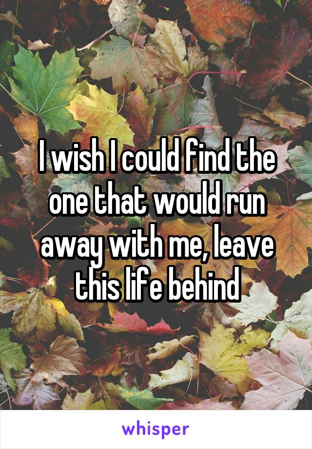 I wish I could find the one that would run away with me, leave this life behind