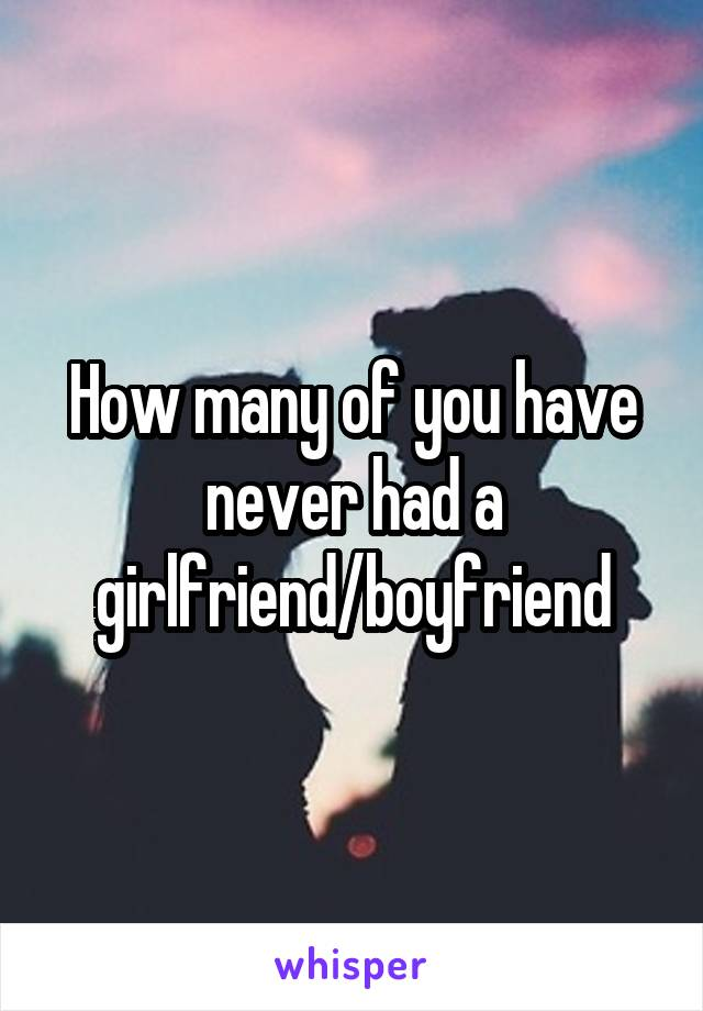 How many of you have never had a girlfriend/boyfriend
