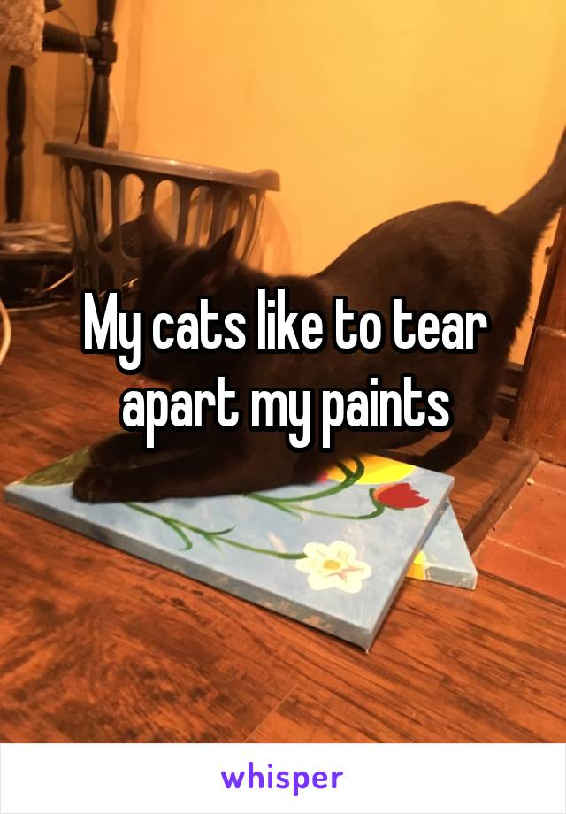 My cats like to tear apart my paints