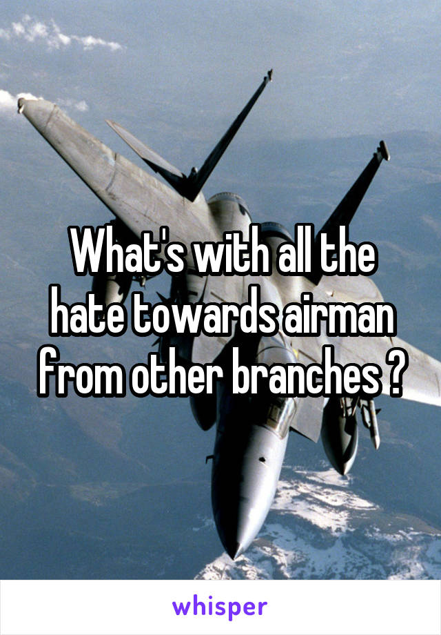 What's with all the hate towards airman from other branches ?