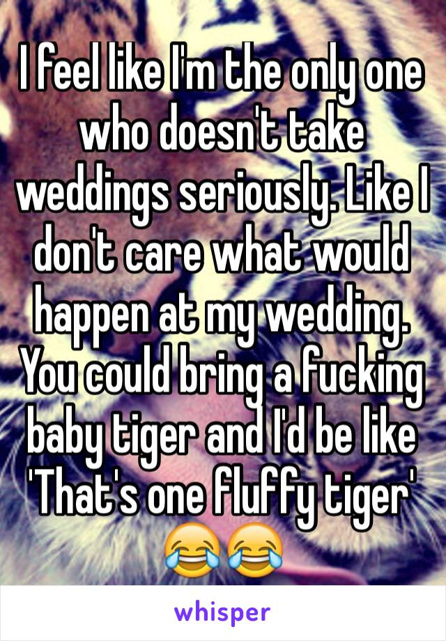 I feel like I'm the only one who doesn't take weddings seriously. Like I don't care what would happen at my wedding. You could bring a fucking baby tiger and I'd be like 'That's one fluffy tiger' 😂😂