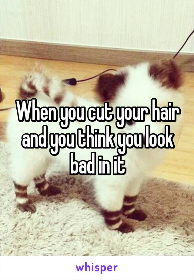 When you cut your hair and you think you look bad in it