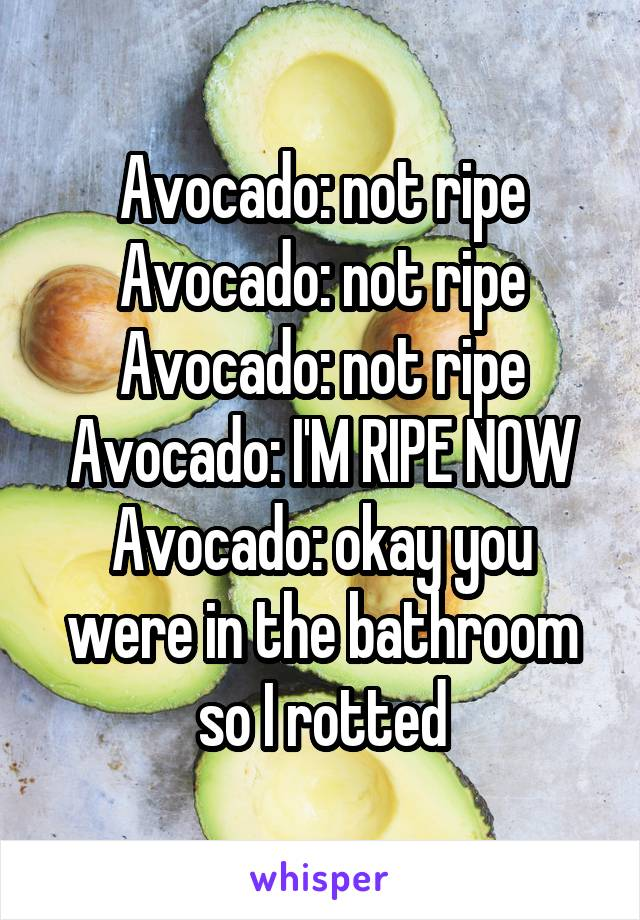 Avocado: not ripe Avocado: not ripe Avocado: not ripe Avocado: I'M RIPE NOW Avocado: okay you were in the bathroom so I rotted