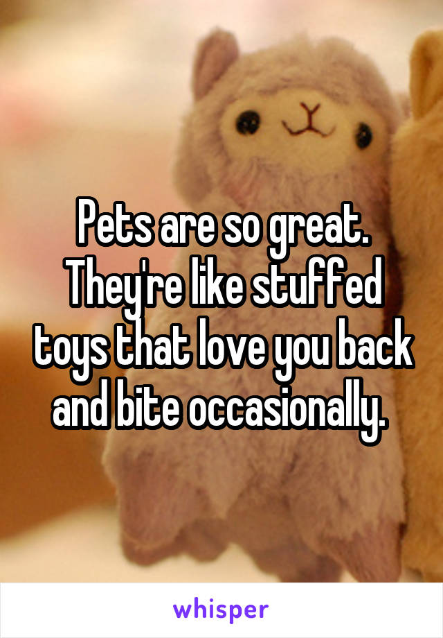 Pets are so great. They're like stuffed toys that love you back and bite occasionally.