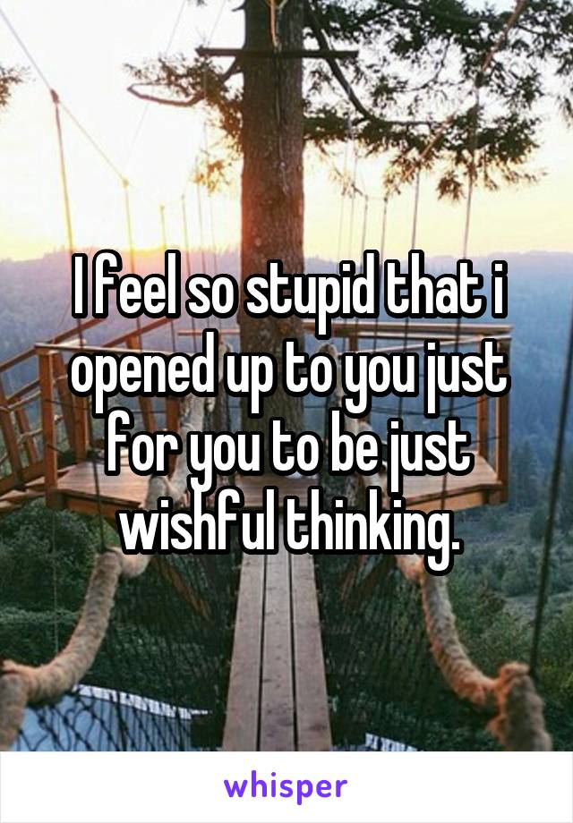 I feel so stupid that i opened up to you just for you to be just wishful thinking.