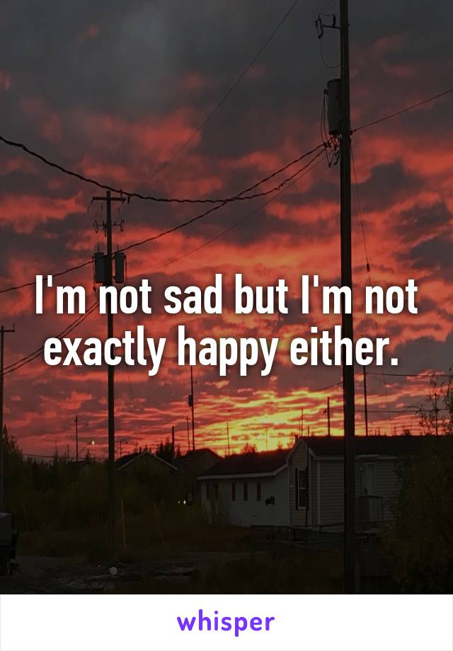 I'm not sad but I'm not exactly happy either.