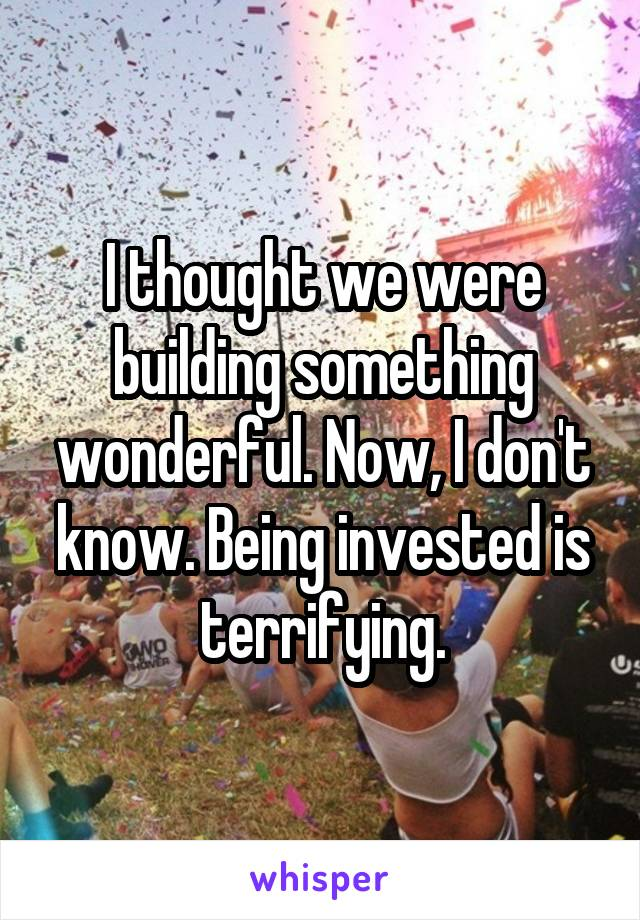 I thought we were building something wonderful. Now, I don't know. Being invested is terrifying.