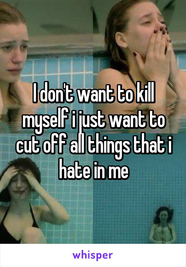 I don't want to kill myself i just want to cut off all things that i hate in me