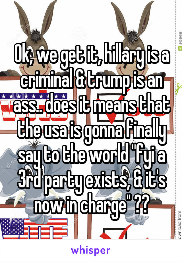"Ok, we get it, hillary is a criminal & trump is an ass.. does it means that the usa is gonna finally say to the world ""fyi a 3rd party exists, & it's now in charge"" ??"