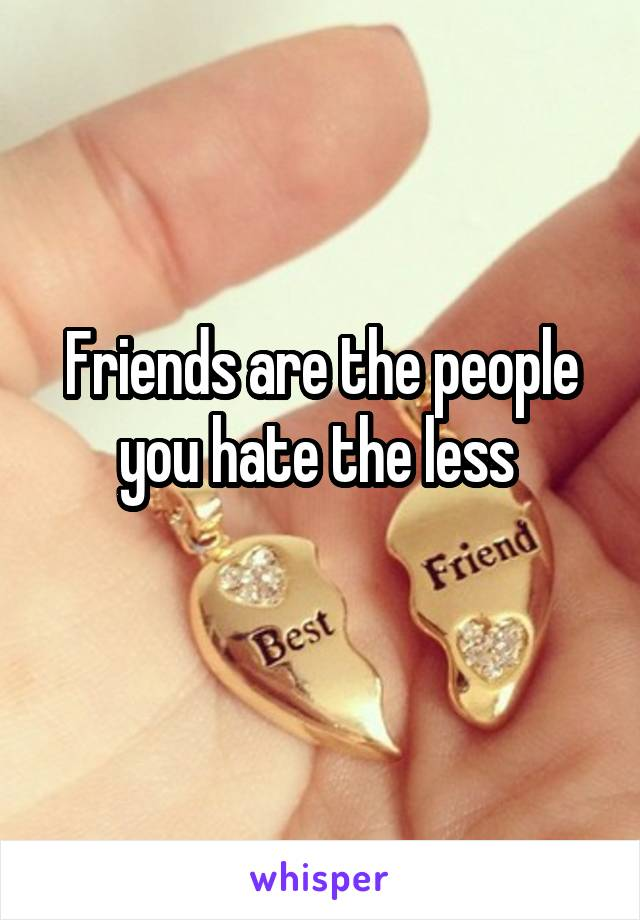 Friends are the people you hate the less