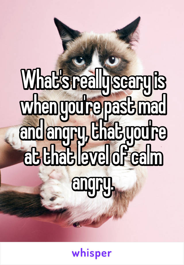 What's really scary is when you're past mad and angry, that you're at that level of calm angry.