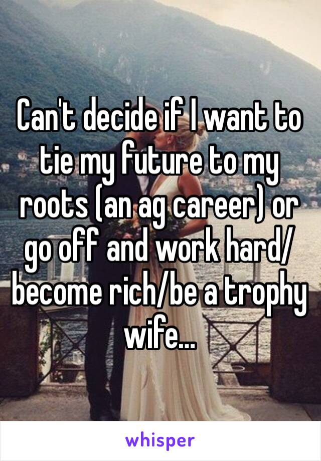 Can't decide if I want to tie my future to my roots (an ag career) or go off and work hard/become rich/be a trophy wife…