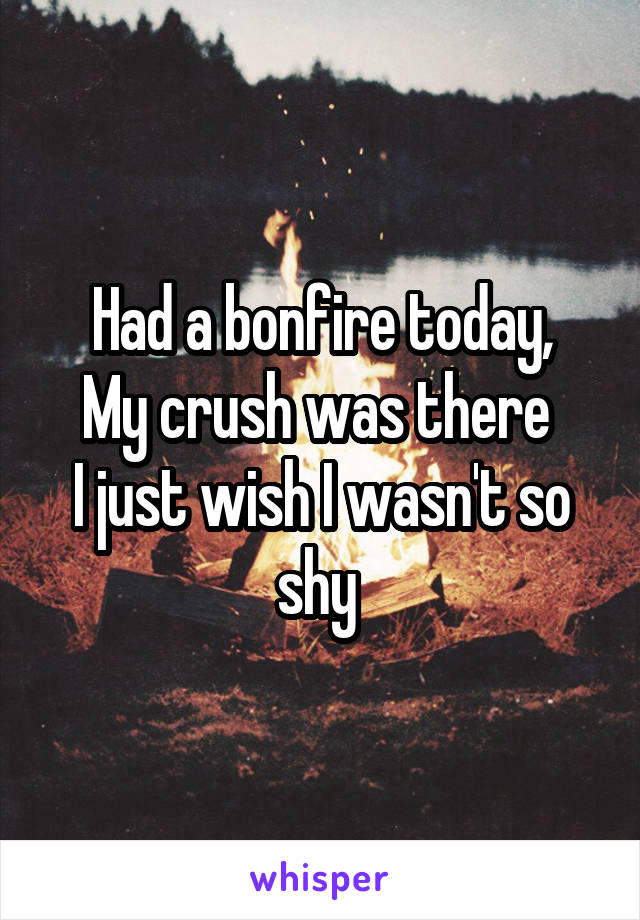 Had a bonfire today, My crush was there  I just wish I wasn't so shy