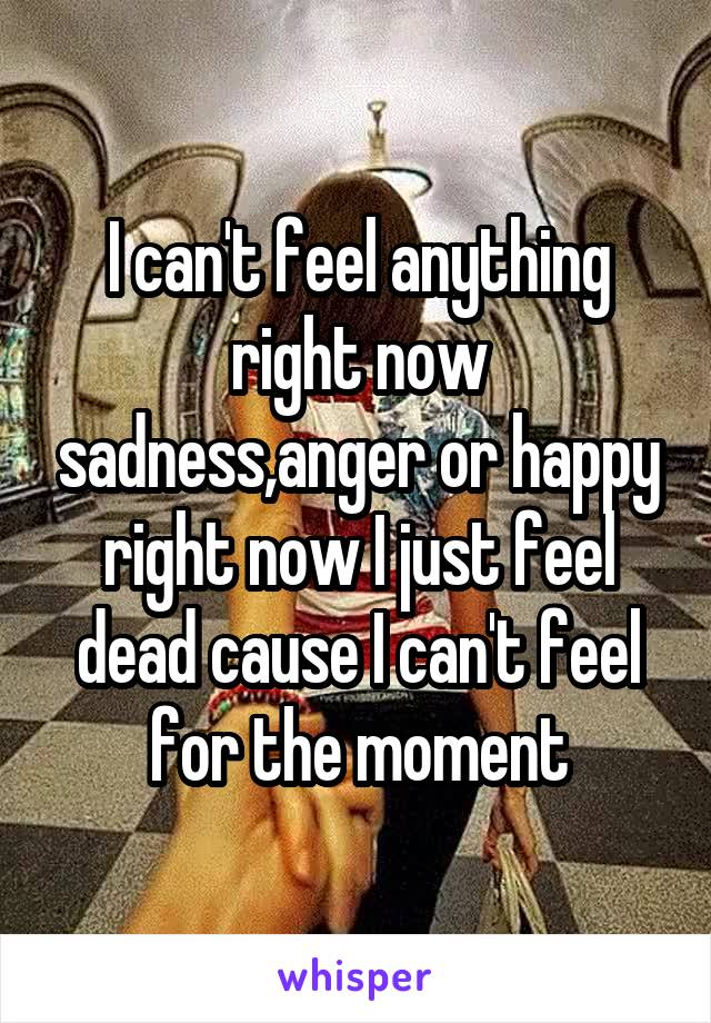 I can't feel anything right now sadness,anger or happy right now I just feel dead cause I can't feel for the moment