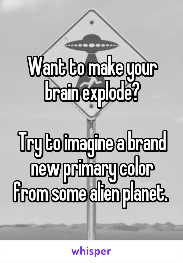 Want to make your brain explode?  Try to imagine a brand new primary color from some alien planet.